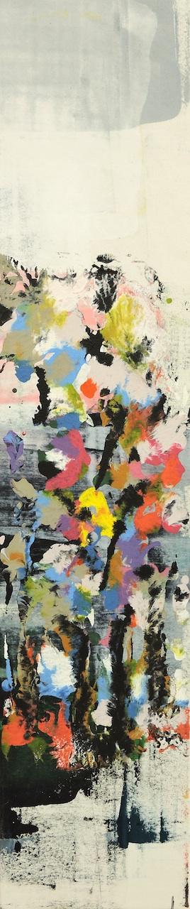 Vertical Flowers, Manuela Gottfried 2020, Acryl auf Leinwand 25 x 120 cm