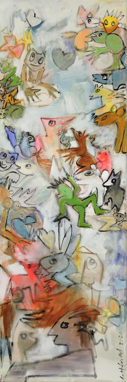 Trampolinchen und der weisse Elefant, Manuela Gottfried 2020, Acryl auf Leinwand 50 x 150 cm